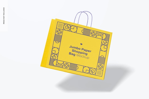 Мокап бумажной хозяйственной сумки jumbo, падающий