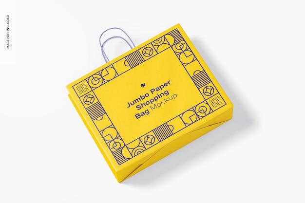 Мокап бумажной хозяйственной сумки jumbo, вид сверху