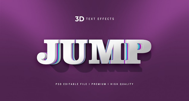 Jump 3d text style effect mockup
