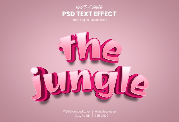 The jungle 3d text style effect template