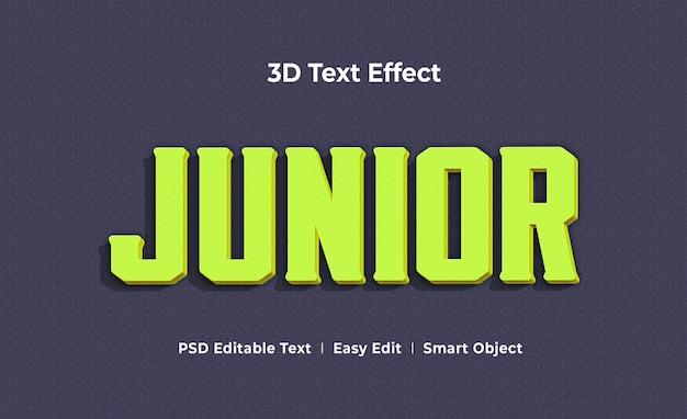 Junior 3d text effect mockup template