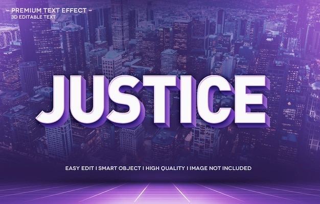 Justice 3d text style effect template