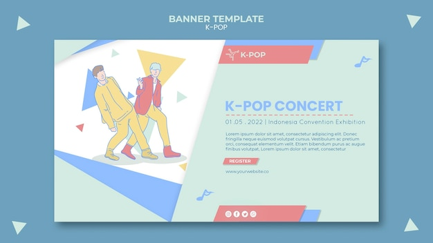 K-pop banner template with illustrations