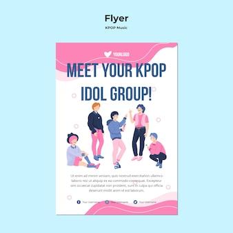 Modello di volantino k-pop con illustrazione