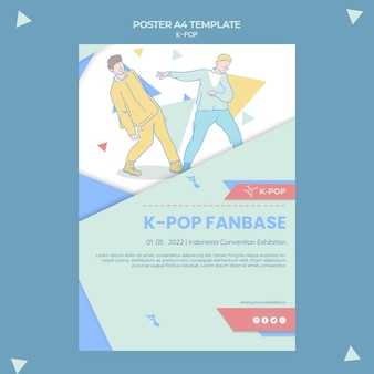 Modello di poster k-pop illustrato
