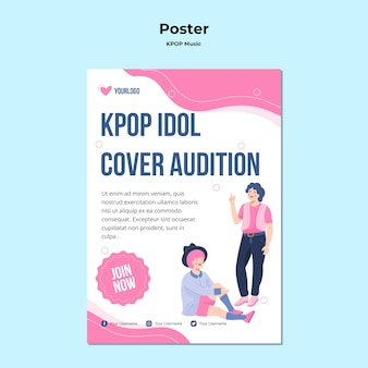 Modello di poster k-pop con illustrazioni