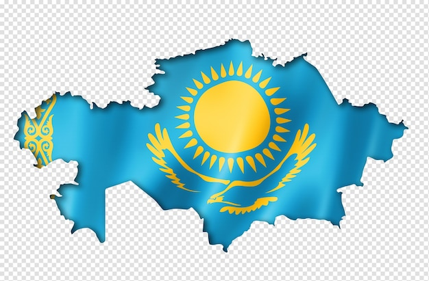 Kazakhstan flag map in three dimensional render isolated