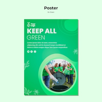 すべて緑のポスターテンプレートを保持する