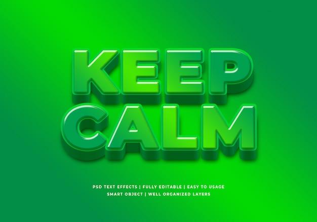 Keep calm 3d text style effect
