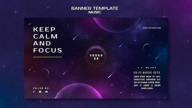Keep calm and focus horizontal banner template
