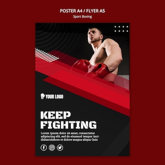 Keep fighting flyer print template Premium Psd