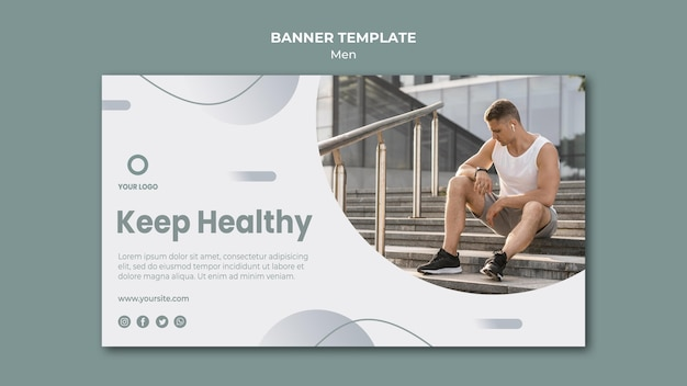 Keep healthy doing sport banner template