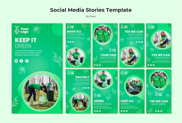 Mantieni il modello verde di storie sui social media