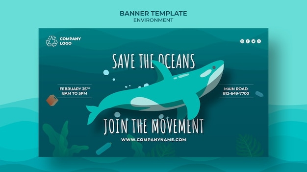 Keep the ocean clean banner template