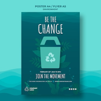 Keep the ocean clean poster template with recycling sign