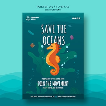 Keep the ocean clean poster template with seahorse