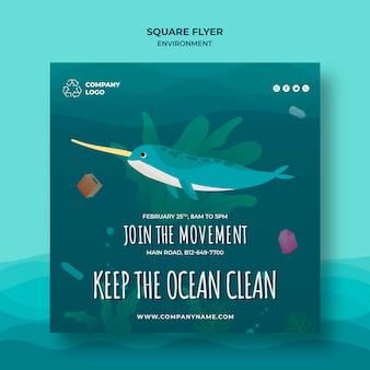 Keep the ocean clean square flyer template with narwhal