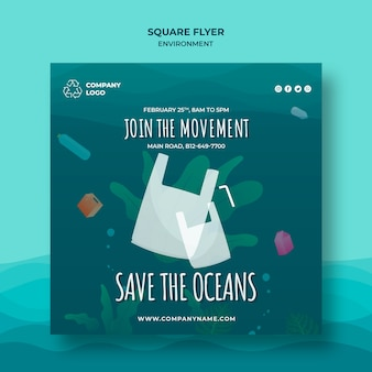 Keep the ocean clean square flyer template without plastic bags