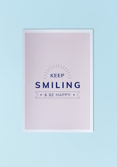 Keep smiling and be happy poster mockup