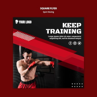 Keep training square flyer print template