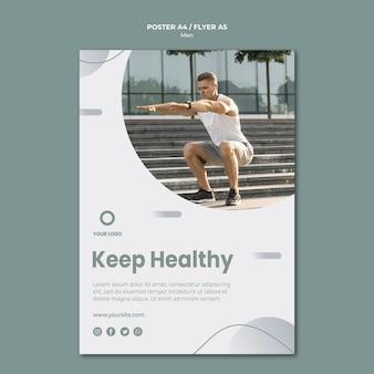 Держите себя здоровым плакат шаблон