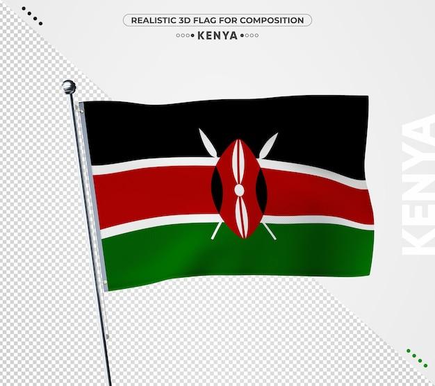 Флаг кении с реалистичной текстурой