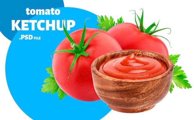 Ketchup in bowl, tomato sauce package concept