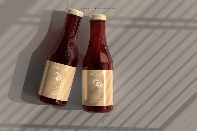 Ketchup or sauce bottles mockup