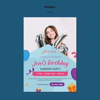 Kid birthday celebration poster template
