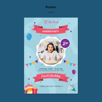 Kid birthday invitation poster template