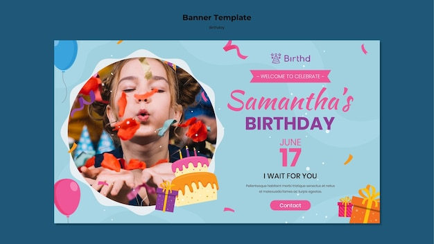 Kid birthday party banner template