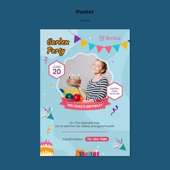 Kid birthday party poster template