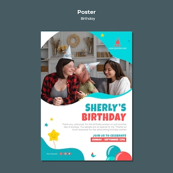 Kid's birthday party poster template