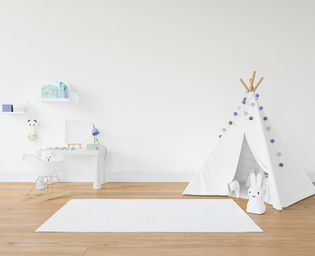 Kid's room with white carpet and teepee
