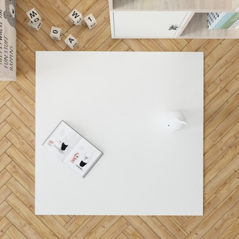 Kid's room with white carpet