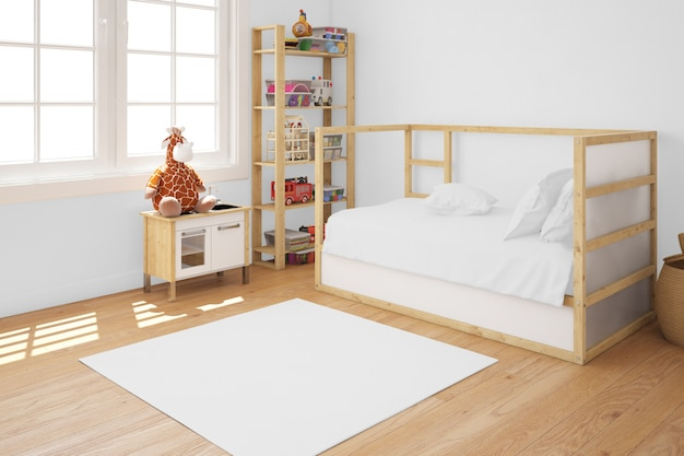 Kid's room with wooden bed