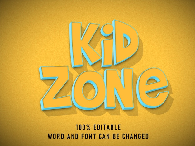 Kid zone text style text effect editable color with grunge style retro