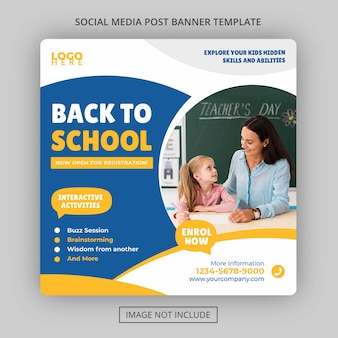 Kids back to school academy education admission banner price and fee social media banner template
