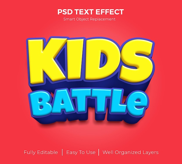 Редактируемый текстовый эффект битвы детей