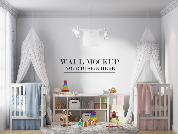Kids bedroom wall template behind two baby beds