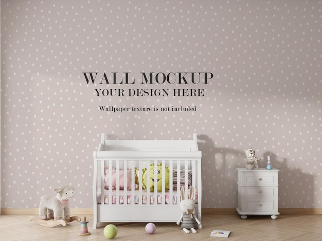 Kids bedroom wallpaper mockup design