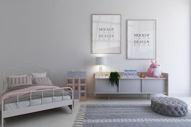 モックアップデザインポスターフレーム付きキッズベッドルーム