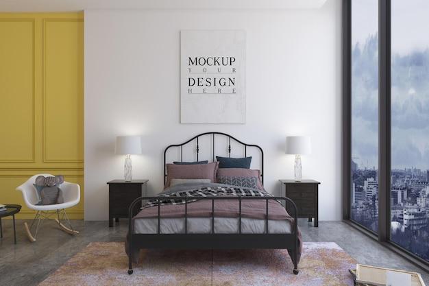 モックアップデザインポスター付きキッズベッドルーム
