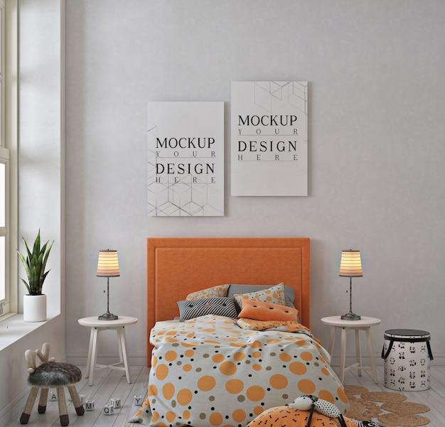 Детская спальня с рамкой для макета плаката