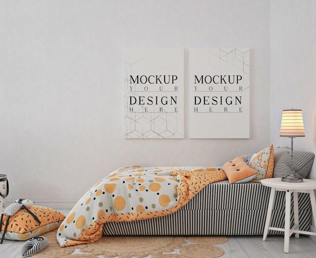 モックアップポスターフレーム付きキッズベッドルーム