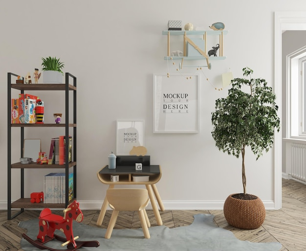 Kids bedroom with study table and poster frame mockup