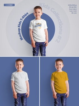 Kids boy t-shirt mockups.  design is easy in customizing images design (on t-shirt), t-shirt color, color background