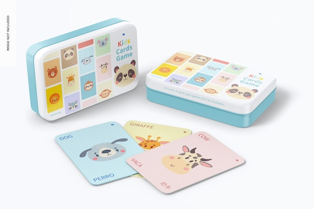 Kids cards game mockup, standing and dropped