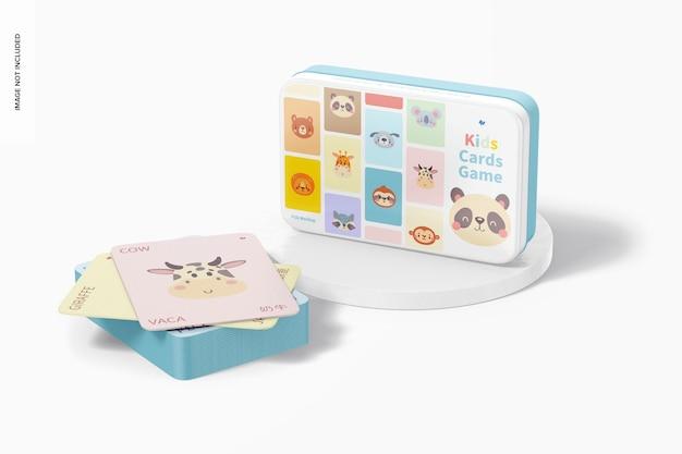 Mockup del gioco di carte per bambini, su e giù