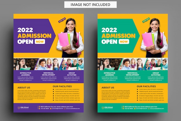 Kids education admission flyer template